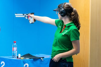 MUNICH - MAY 27: 8th placed Joana CASTELAO of Portugal competes in the 10m Air Pistol Women Final at the Olympic Shooting Range Munich/Hochbrueck during Day 4 of the ISSF World Cup Rifle/Pistol on May 27, 2018 in Munich, Germany. (Photo by Nicolo Zangirolami)