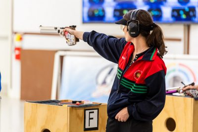 FORT BENNING - MAY 12: 5th placed Joana CASTELAO of Portugal competes in the 10m Air Pistol Women Final at the Shooting Range of the United States Army Marksmanship Unit during Day 4 of the ISSF World Cup Rifle/Pistol on May 12, 2018 in Fort Benning, Georgia, United States of America. (Photo by Nicolo Zangirolami)